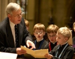 Dr. Rose with the boy choristers